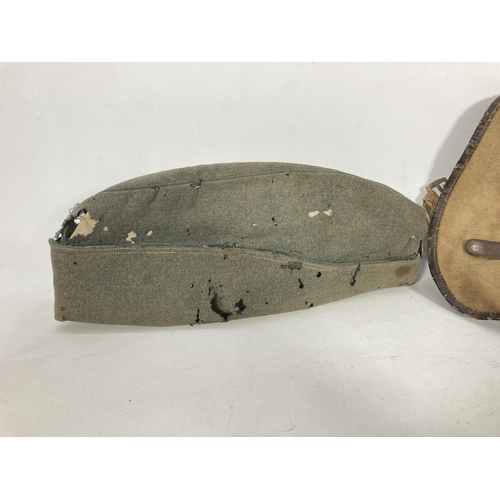 44 - Two items, one WWII Hitler Youth bread bag and one WWII German field cap