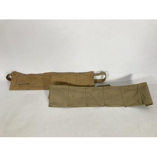 45 - Two items, one British Army khaki 303 canvas ammunition bandolier and one WWII US M1 Garand bandolie...