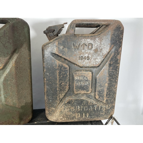 48 - Three WWII items all dated 1943, two jerry cans and one equipment box
