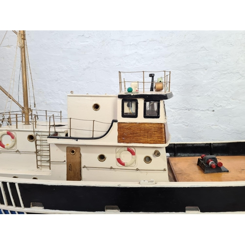150 - A scratch built model fishing trawler - approx. 64cm long x 94cm high with stand x 39cm wide