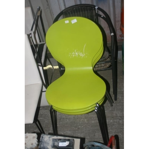 27 - 3 LIME GREEN MODERN CHAIRS...