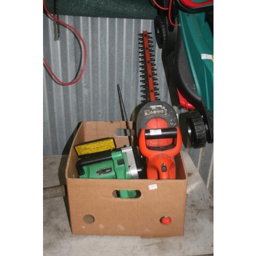 4 - ELECTRIC CHAINSAW AND BATTERY OPERATED HEDGECUTTER...