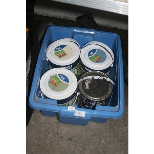 33 - GARDEN PAINT AND BLACK HAMMERITE PAINT (PART TINS)...