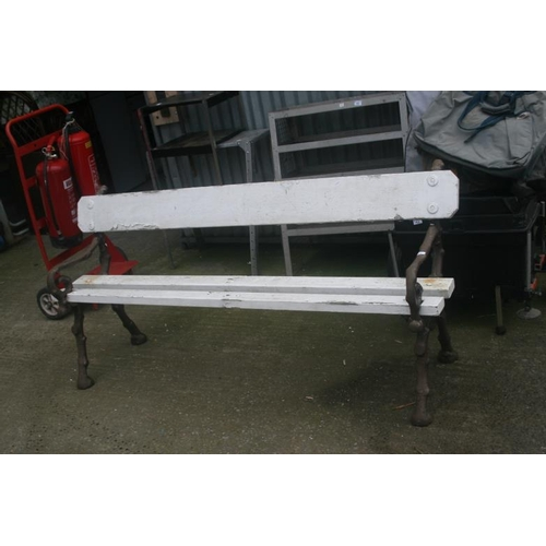 44 - LARGE HEAVY METAL ENDS (WOOD EFFECT) BENCH...