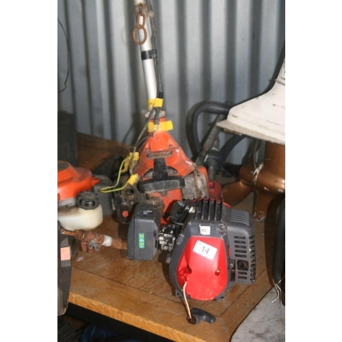 14 - MOUNTFIELD PETROL STRIMMER IN PARTS AND ECHO STRIMMER...