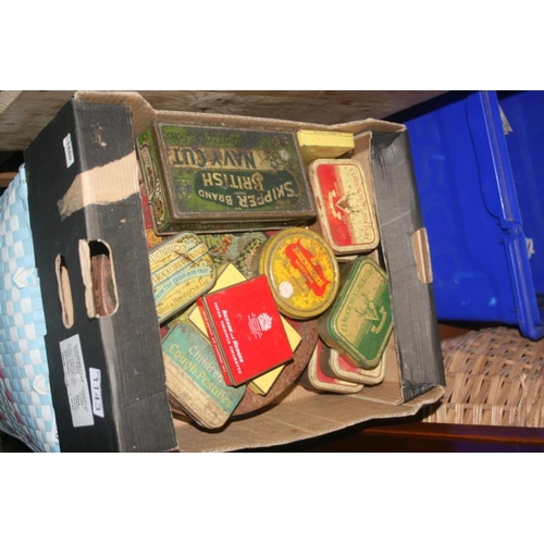 1143 - BOX OF VINTAGE TINS...