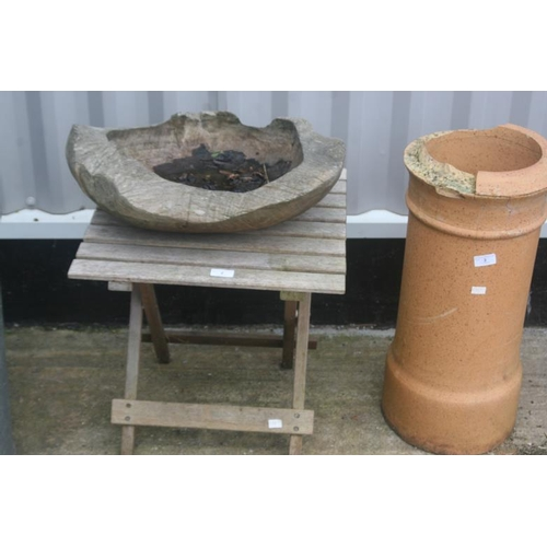 2 - SMALL OUTSIDE FOLDING TABLE AND WOODEN BOWL...