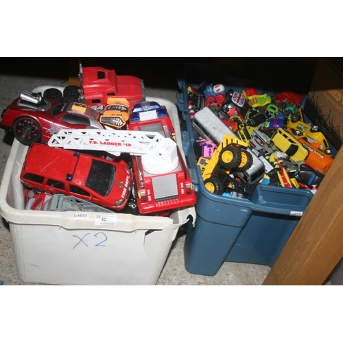 42 - 2 BOXES OF TOY CARS...