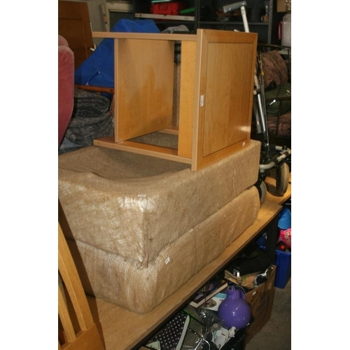 45 - TABLE AND TWO FOOT STOOLS FOR REUPHOLSTERY...