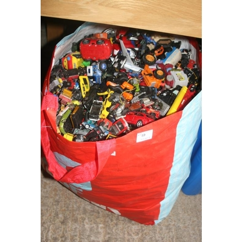 59 - LARGE SHOPPING BAG OF TOY CARS...