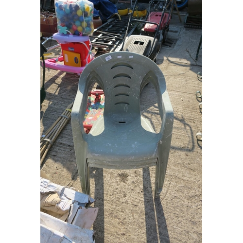 38 - 3 STACKING PLASTIC GARDEN CHAIRS...