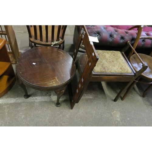 54 - PIANO STOOL, SMALL ROUND TABLE AND MIRROR...