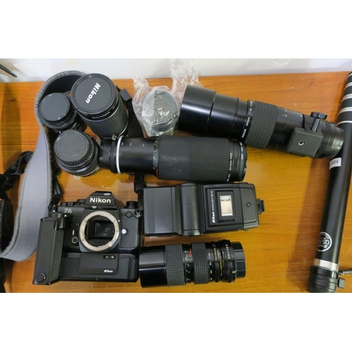 8 - BOX OF CAMERAS AND ACCESSORIES...