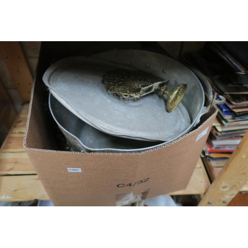 35 - BOX INC BRASS AND VINTAGE JAM PAN ETC...