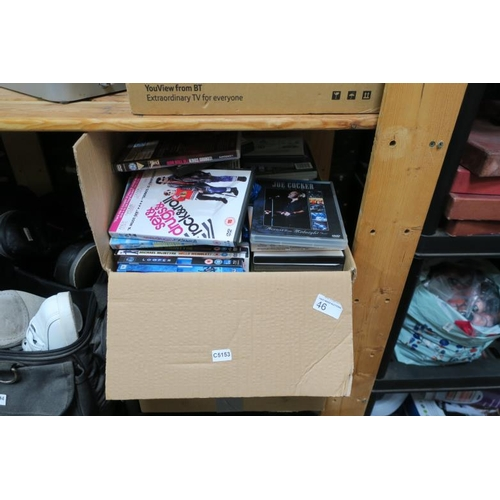 46 - BOX OF DVD AND CASES...
