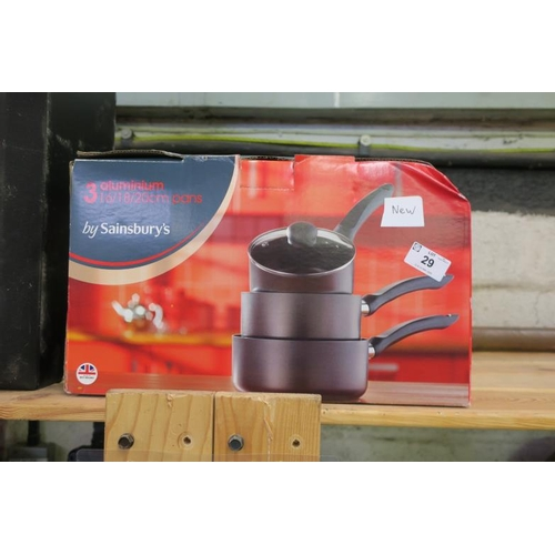 29 - 3 ALUMINIUM COOKING PANS - NEW...
