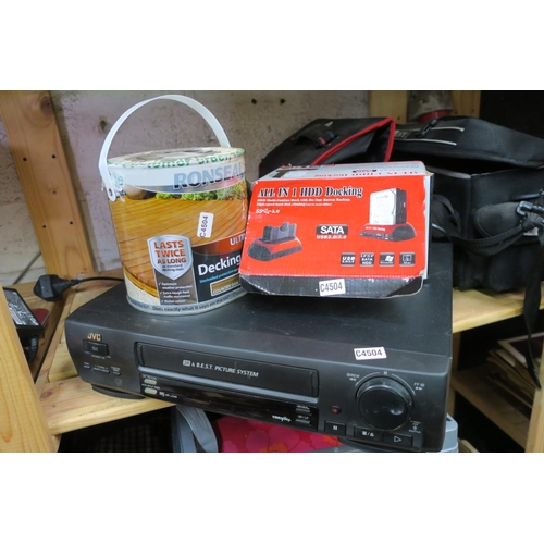21 - NEW DECKING STAIN - HARD DRIVE READER AND JVC VHS PLAYER...