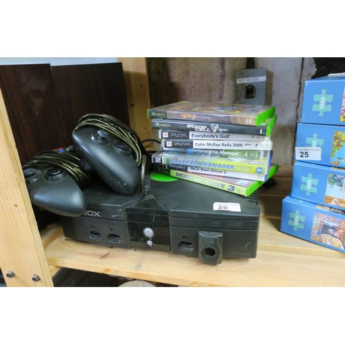 26 - XBOX CONSOLE AND VARIOUS GAMES...