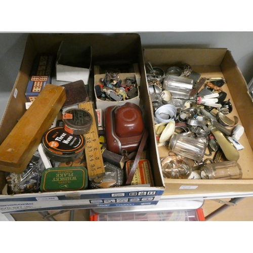2 Good boxes of collectables inc. jewellery, camera, tins, coins, glass paperweight etc