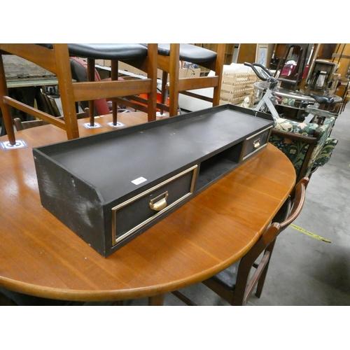 Metal 2 drawer desk tidy (31D 116W 17H cm)