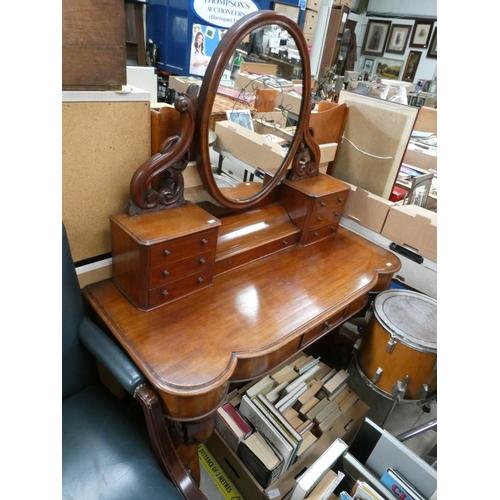 Vic. mahogany dressing table (120W 150H 54D cm)