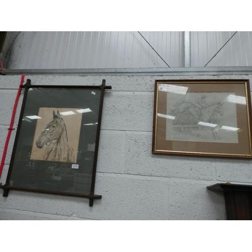 2 Framed horse prints