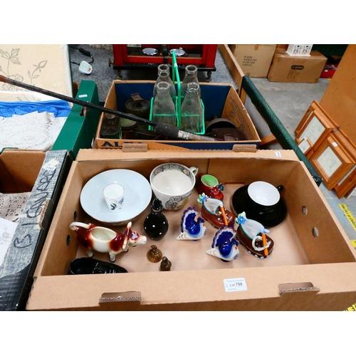 2 Boxes inc. vintage tools, vintage tins, Chinese bowl etc