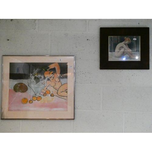 2 Framed nude prints