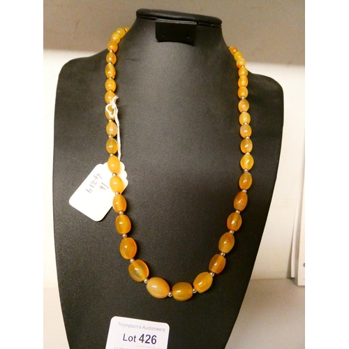 """Citrine necklace with silver clasp (27"""" long)"""