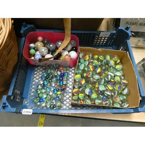 Tray of mixed marbles