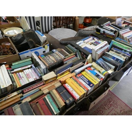 7 Mixed boxes of books inc. gardening, novels, Titanic etc
