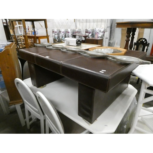 Brown faux leather coffee table (47H 122W 88D cm)