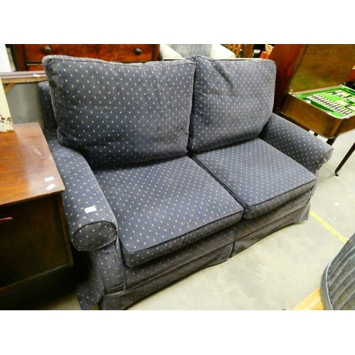 Blue upholstered sofa bed