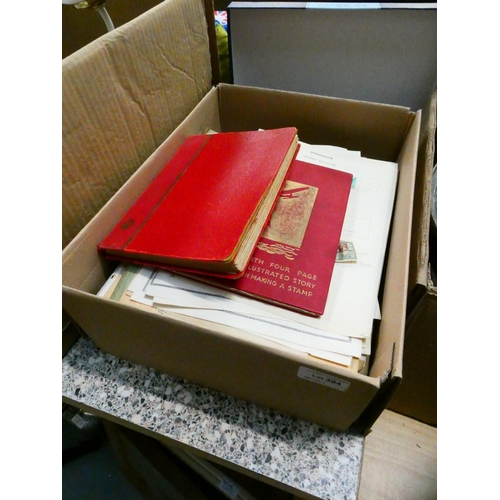 Box of stamp albums & sheet stamps
