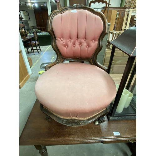 Victorian carved mahogany ladies chair