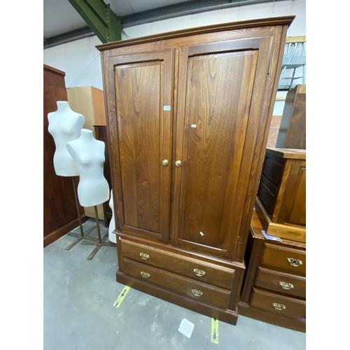 Oak 2 drawer wardrobe (182H 55D 103W cm)