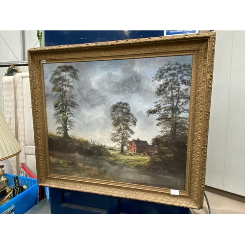 1 - Large gilt framed Digby Page oil on canvass of a farmhouse scene