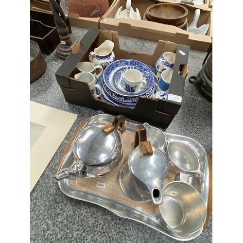 10 - Picquot ware tea set on tray & box of blue & white pottery