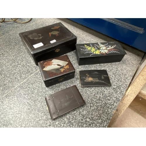 2 - 3 Papier mache trinket boxes & 2 oriental cigarette cases