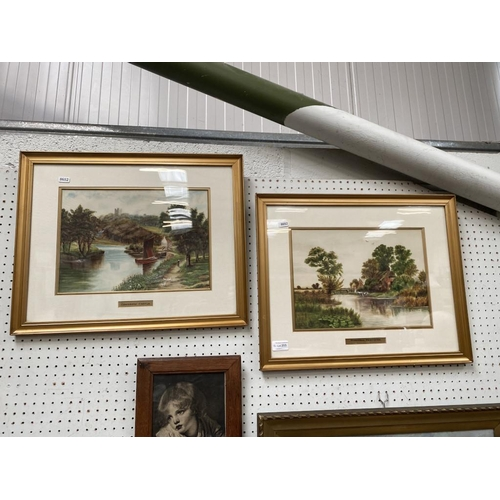 Pair of gilt framed A.Shackleton watercolours dated 1912 & 1915, Ringwood Hampshire & Conisborough Castle