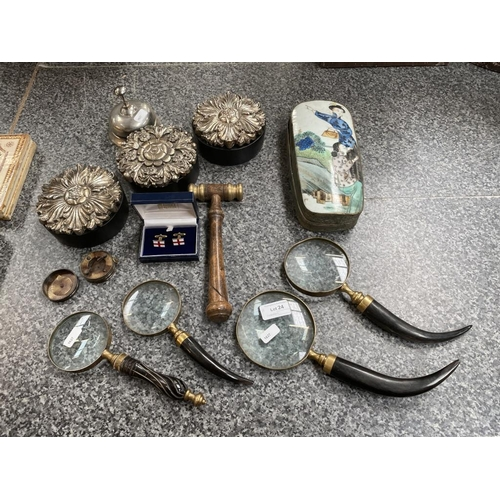 24 - 4 Magnifying glasses, 3 trinket boxes, pair of cufflinks, gavel, Japanese trinket box etc
