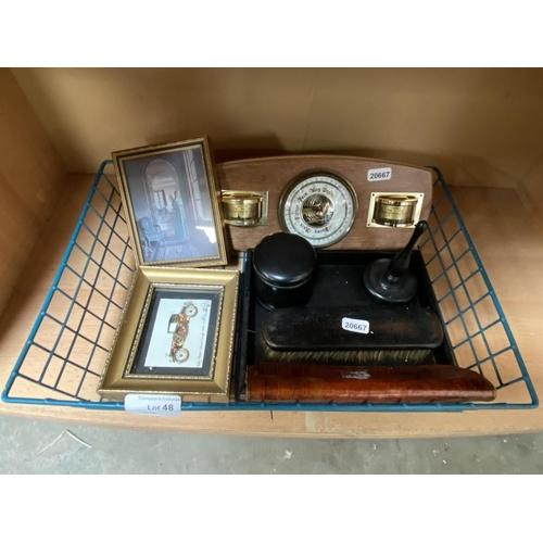 48 - Barometer, part ebony dressing table set etc