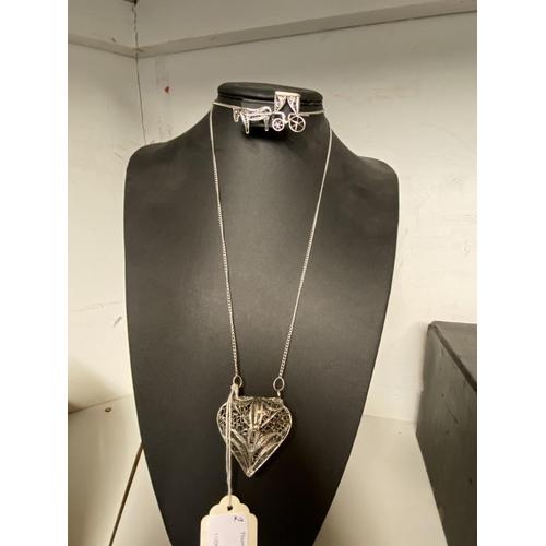 54 - 2 Vintage filigree items - brooch & heart purse on chain