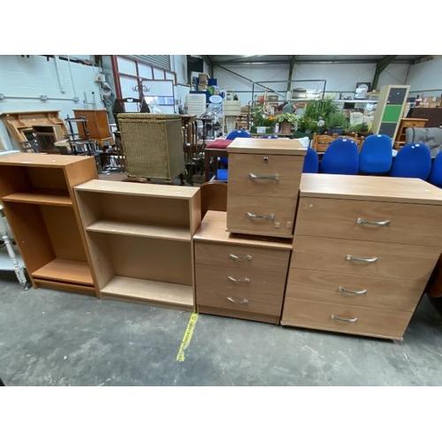 2 Beech bookcases (106H 60W 28D & 92H 79W 20D cm), beech 2 drawer chest (55H 40D 41W cm), beech 3 drawer chest (67H 60W 45D cm) & beech 4 drawer chest (100H 77W 41D cm)