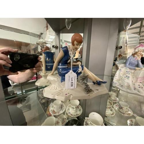 """Art Nouveau style Royal Dux figurine """"Lady with Cat"""""""