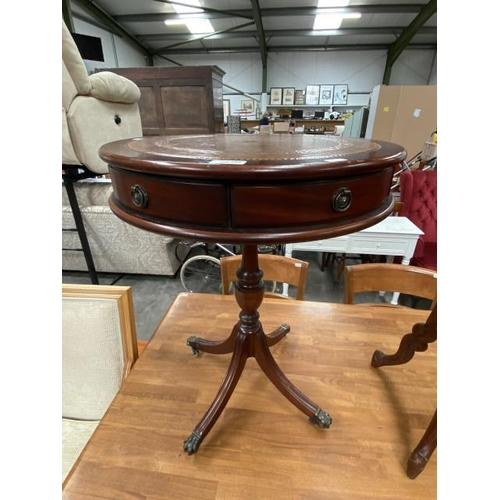Mahogany leather topped drum table (65H 50DIAM cm)