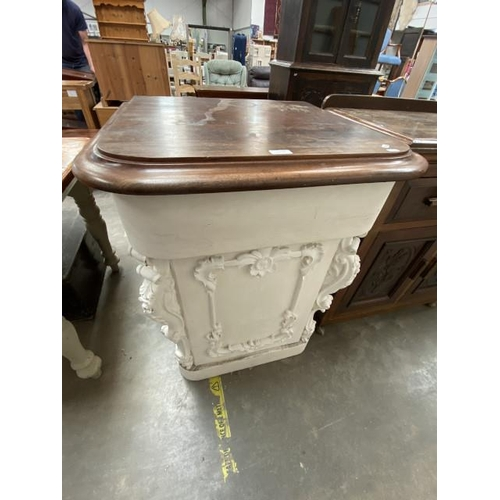 Painted Victorian mahogany carved single door cupboard (94H 70W 66D cm)