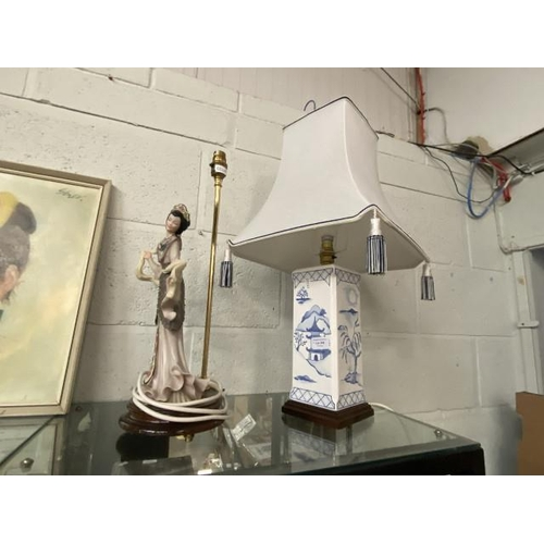 Japanese figurine table lamp & Japanese blue & white base table lamp with shade