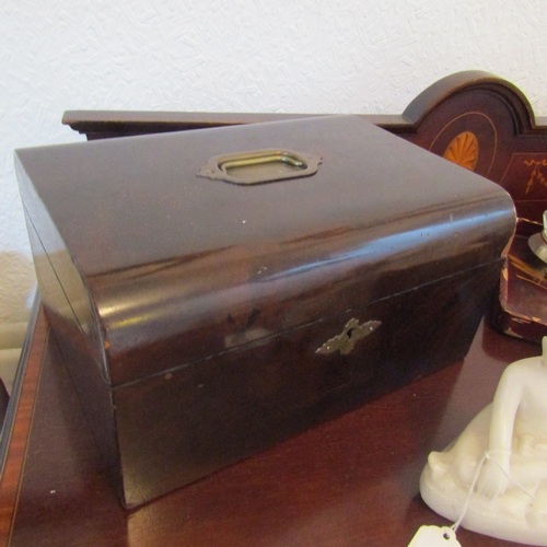 19 - Antique Walnut Table Casket with Brass Finial Decoration and Carry Handle Approximately 13 Inches Wi...