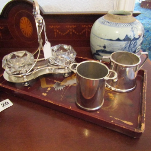 21 - Collection of Silver Plated Items Includes Cut Crystal Salt Cellars on Hardwood Oriental Tray...